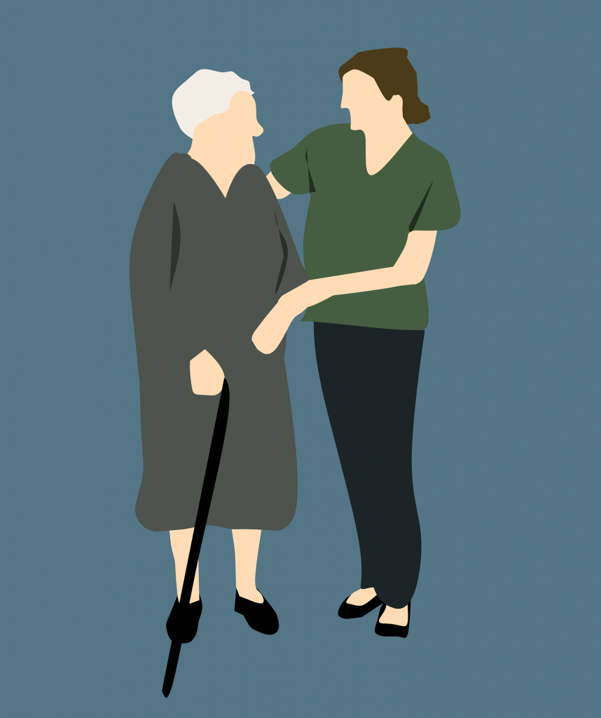 Patient advocate assists elderly woman with cane